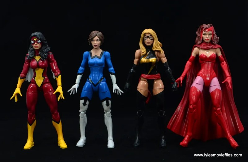Marvel Legends Vintage The Wasp figure review - scale with spider-woman, warbird and scarlet witch