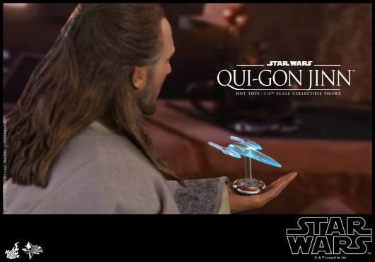 hot toys star wars the phantom menace qui-gon jinn figure -hologram