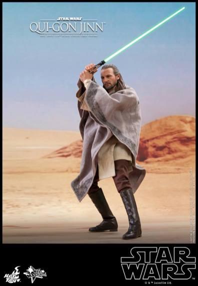 hot toys star wars the phantom menace qui-gon jinn figure -on tattoine