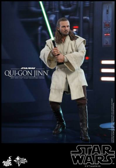 hot toys star wars the phantom menace qui-gon jinn figure -ready for action