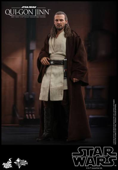hot toys star wars the phantom menace qui-gon jinn figure -robe on