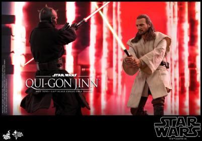 hot toys star wars the phantom menace qui-gon jinn figure -vs darth maul rematch