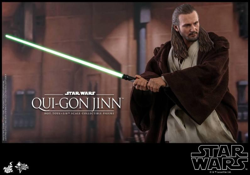 hot toys star wars the phantom menace qui-gon jinn figure -wide shot