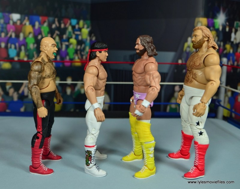 wwe elite flashback ricky steamboat figure review - scale with george the animal, macho man and big john studd