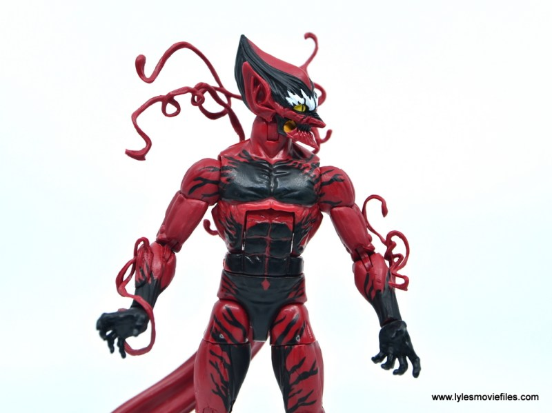 marvel legends red goblin figure review - side head shot
