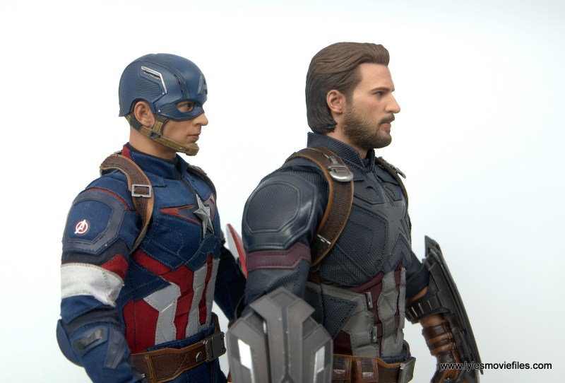 Hot Toys Avengers Infinity War Captain America figure review - side by side with age of ultron captain america