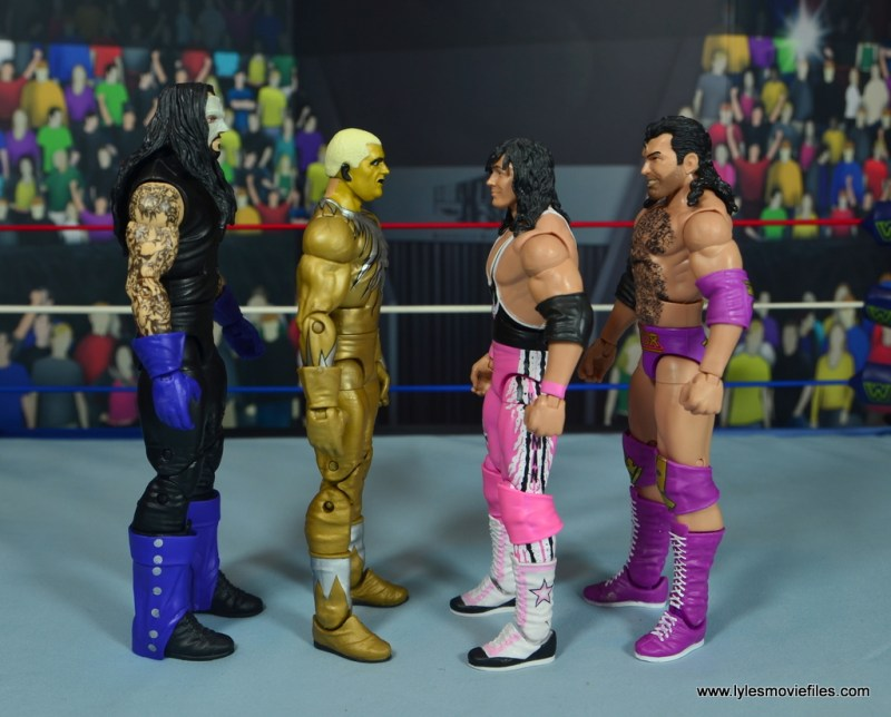 WWE Goldust figure review - scale with undertaker, bret hart and razor ramon
