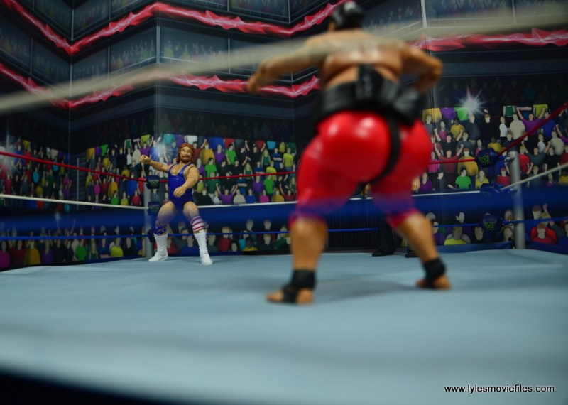 WWE Retrofest Hacksaw Jim Duggan figure review - corner stare down with yokozuna