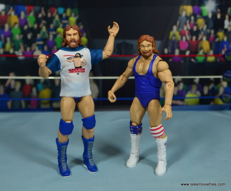 WWE Retrofest Hacksaw Jim Duggan figure review -legends duggan wearing t-shirt