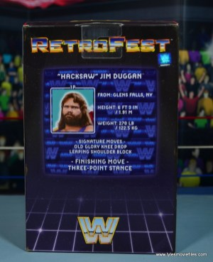 WWE Retrofest Hacksaw Jim Duggan figure review - package rear