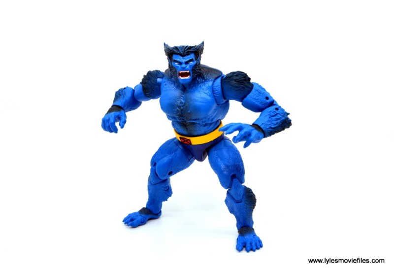 marvel legends beast figure review -arms up