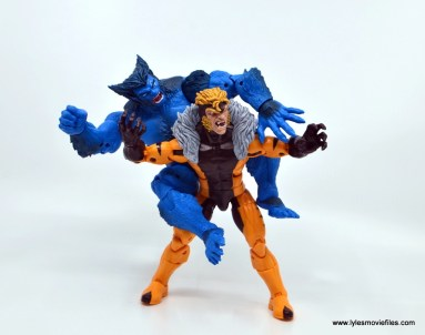 marvel legends beast figure review -attacking sabretooth