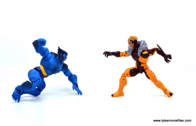 marvel legends beast figure review -face off with sabretooth