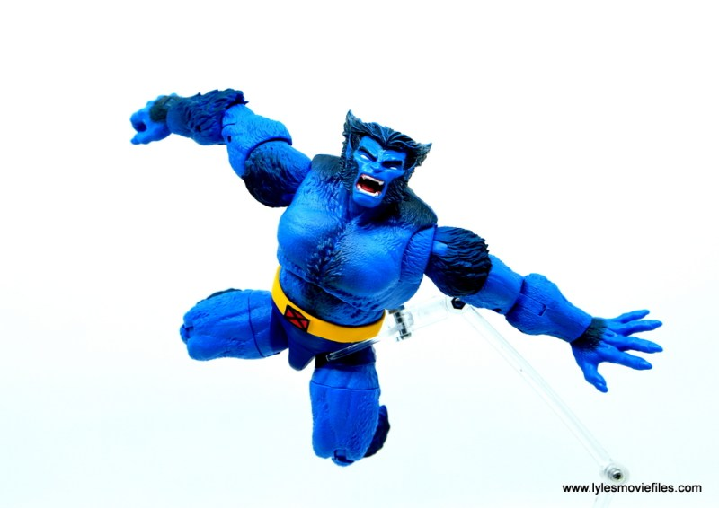 marvel legends beast figure review -pouncing