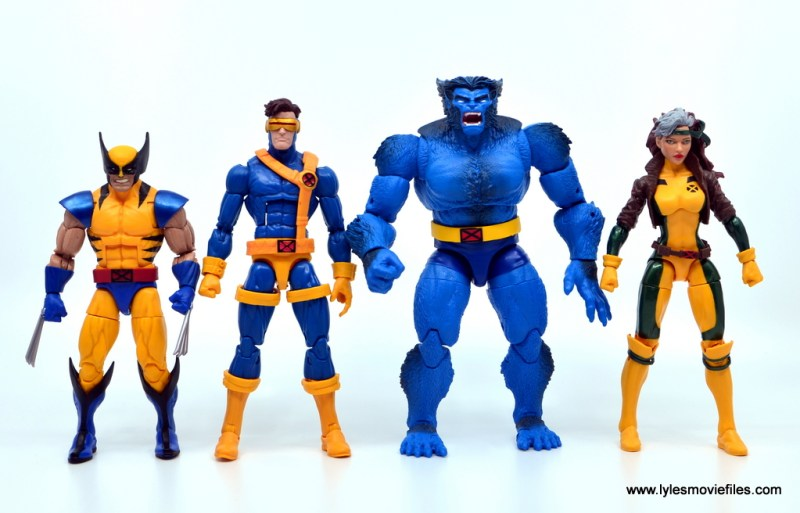 marvel legends beast figure review -scale with wolverine, cyclops and rogue