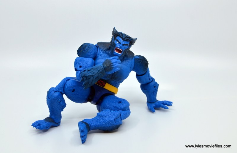 marvel legends beast figure review -taking a seat