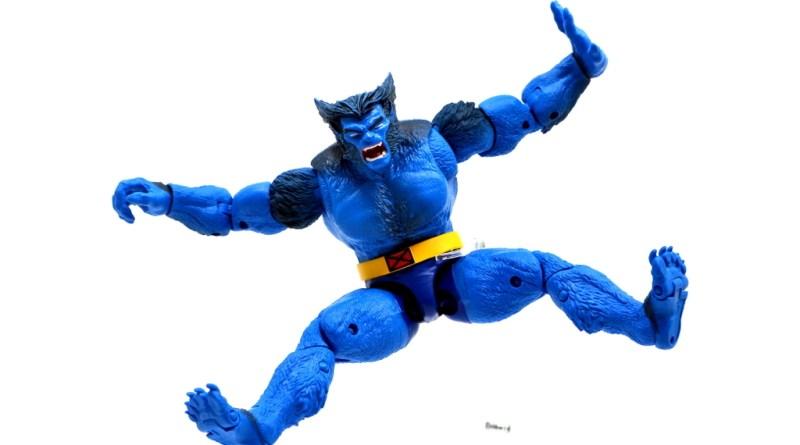 marvel legends beast figure review -wide kick