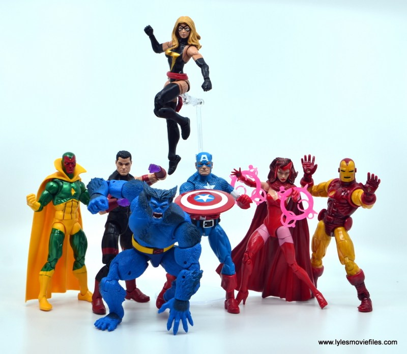 marvel legends beast figure review - with avengers vision, wonder man, warbird, cap, scarlet witch and iron man