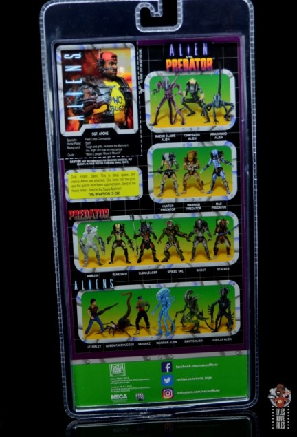 neca aliens sgt apone figure review - package rear