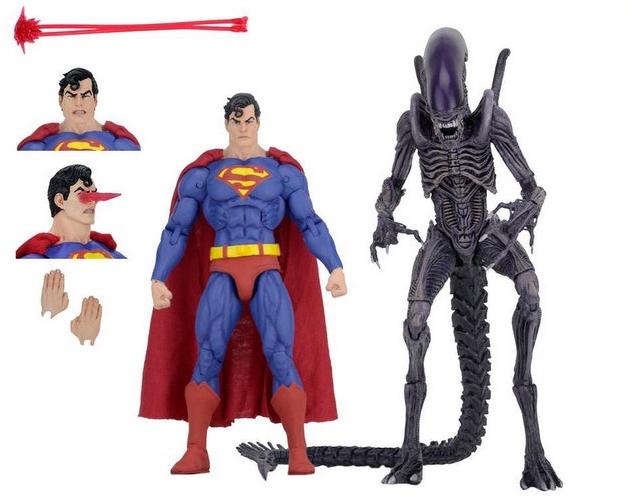 neca sdcc superman vs aliens set - collage