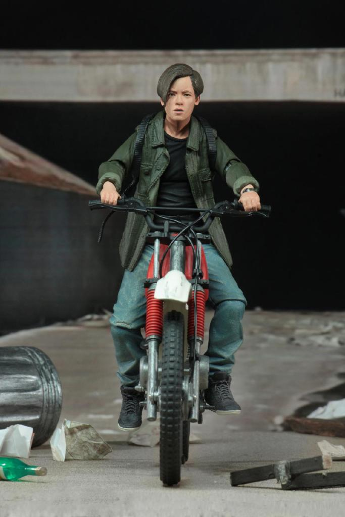 neca terminator 2 judgment day john connor figure - on motorcycle