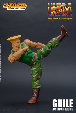 storm collectibles street fighter ii guile figure - higher kick