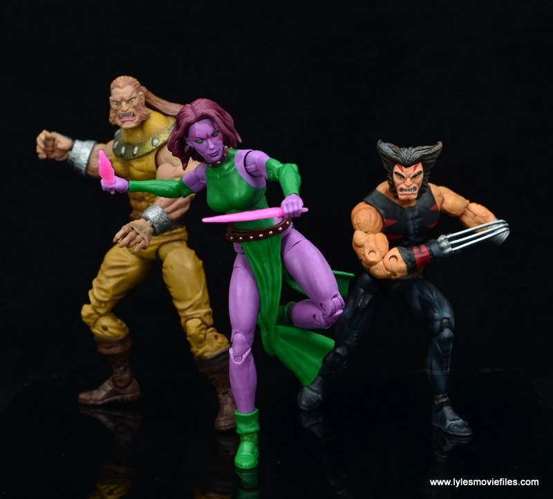 Marvel Legends Blink figure review - in action with sabretooth and weapon x