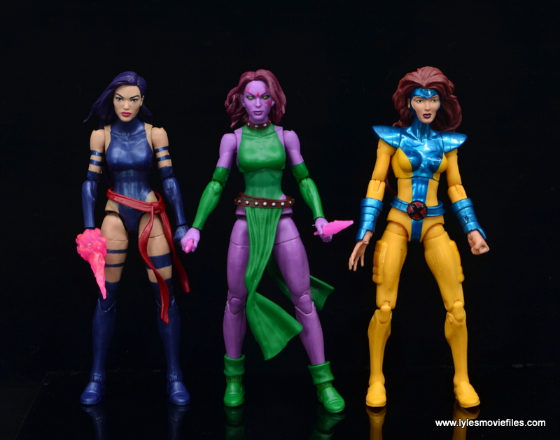 Marvel Legends Blink figure review - scale with psylocke and jean grey