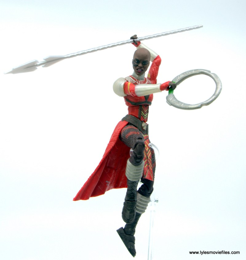 Marvel Legends Dora Milaje figure review - in the air with spear and disc