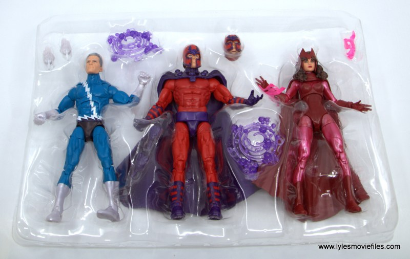 Marvel Legends Magneto, Quicksilver and Scarlet Witch figure review - figures in tray