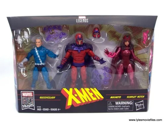 Marvel Legends Magneto, Quicksilver and Scarlet Witch figure review - package front