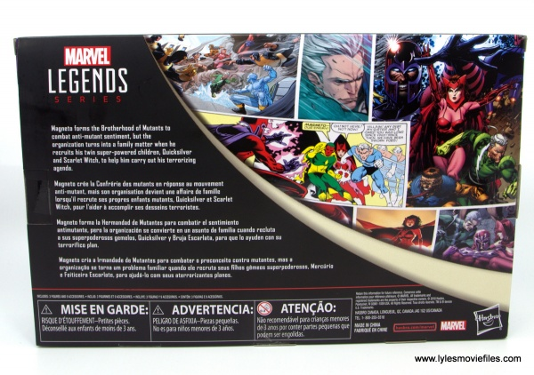 Marvel Legends Magneto, Quicksilver and Scarlet Witch figure review - package rear