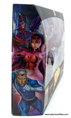 Marvel Legends Magneto, Quicksilver and Scarlet Witch figure review -package side