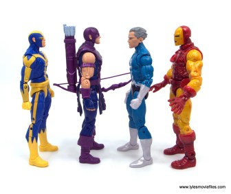 Marvel Legends Magneto, Quicksilver and Scarlet Witch figure review -quicksilver scale with goliath, hawkeye and iron man