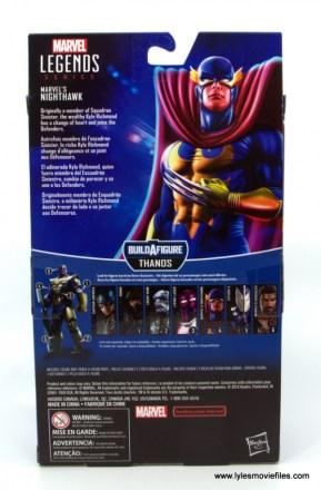 Marvel Legends Nighthawk figure review - package rear