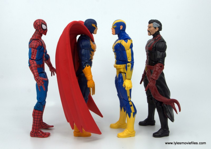 Marvel Legends Nighthawk figure review - scale with spider-man, goliath and doctor strange