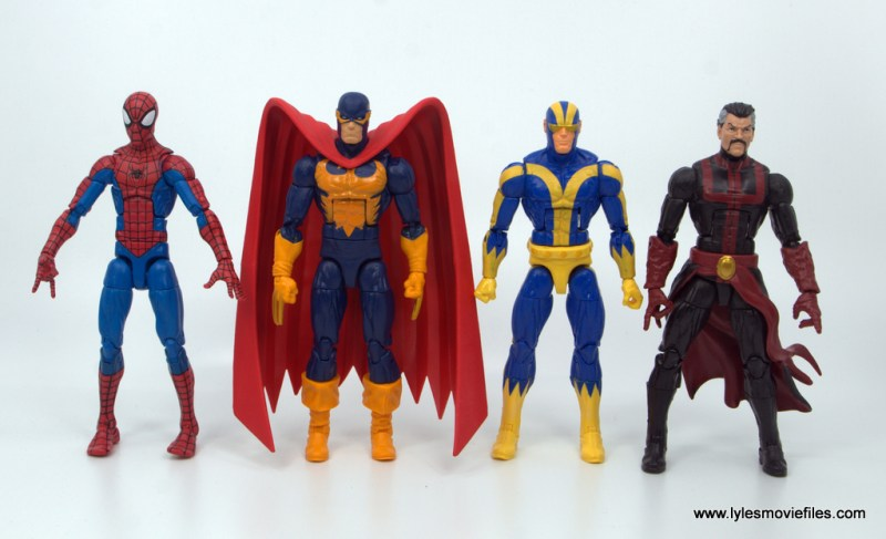 Marvel Legends Nighthawk figure review - with spider-man, goliath and doctor strange