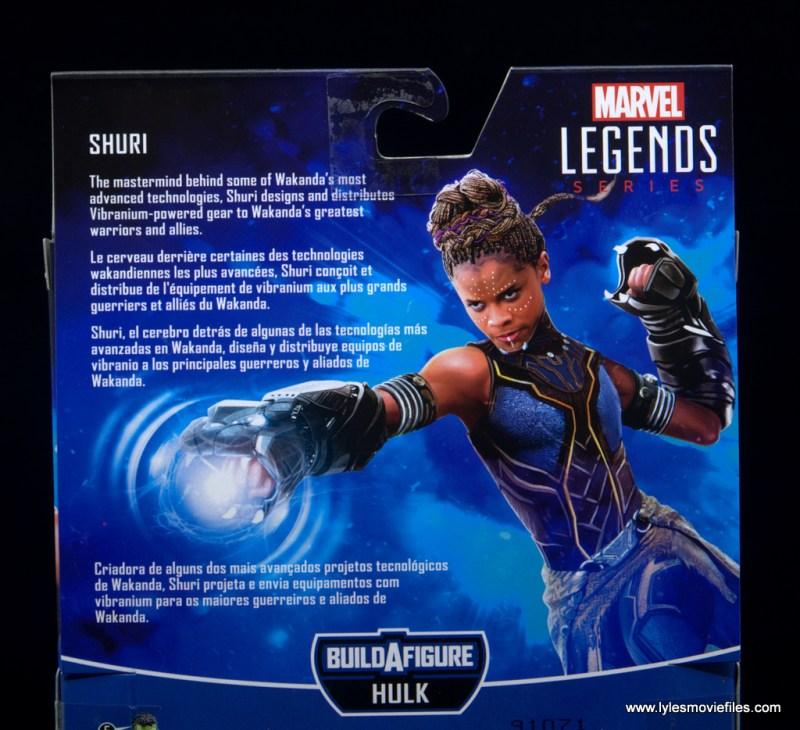 Marvel Legends Shuri figure - package bio