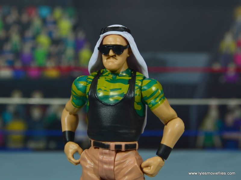 WWE Basic Sgt. Slaughter figure review -close up left