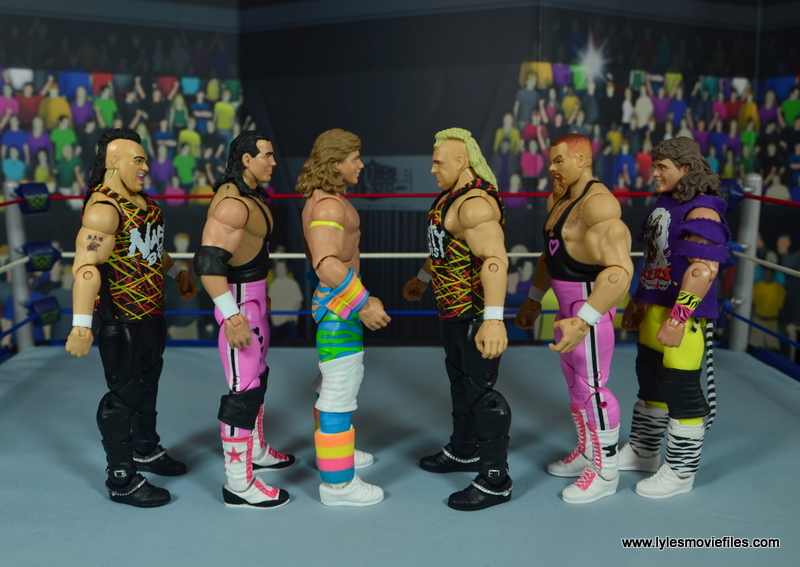 WWE RetroFest Shawn Michaels figure review - scale with nasty boys, hart foundation and marty jannetty