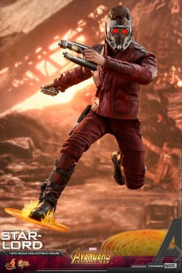 hot toys avengers infinity war star-lord figure - jumping on magic disks