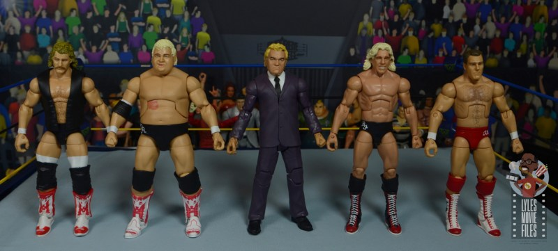 wwe build-a-figure jj dillon figure review - scale with magnum ta, dusty rhodes, ric flair and tully blanchard