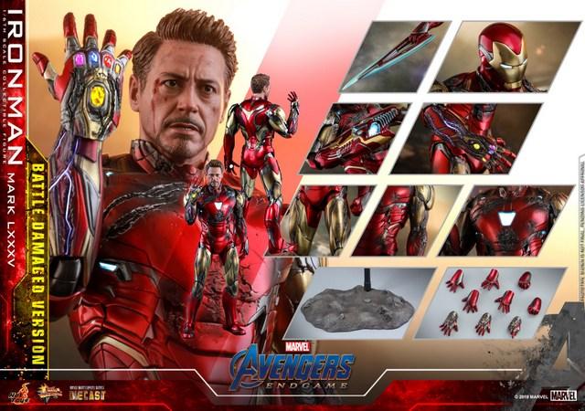 Hot Toys Avengers Endgame Iron Man Mark LXXXV Battle Damaged Figure - collage