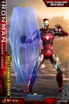 Hot Toys Avengers Endgame Iron Man Mark LXXXV Battle Damaged Figure - hologram shield
