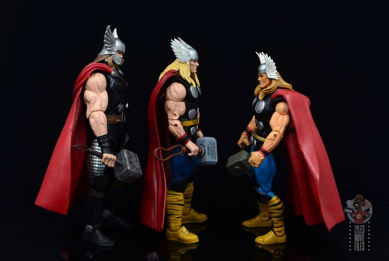 Marvel Legends 80th Thor figure review - facing odinfather thor and toy biz thor