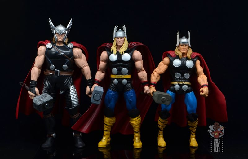 Marvel Legends 80th Thor figure review - scale with odinfather thor and toy biz thor