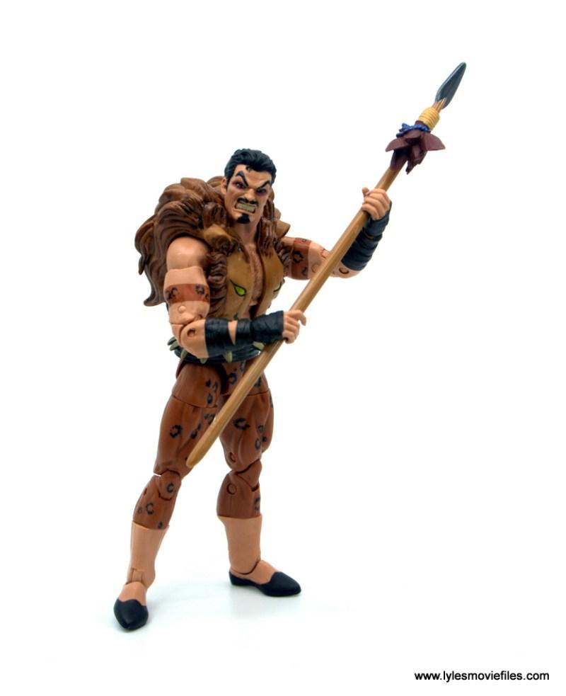 Marvel Legends Kraven and Spider-Man two-pack figure review - kraven holding spear