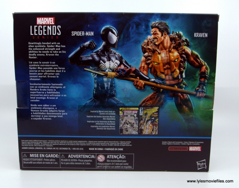 Marvel Legends Kraven and Spider-Man two-pack figure review -package rear