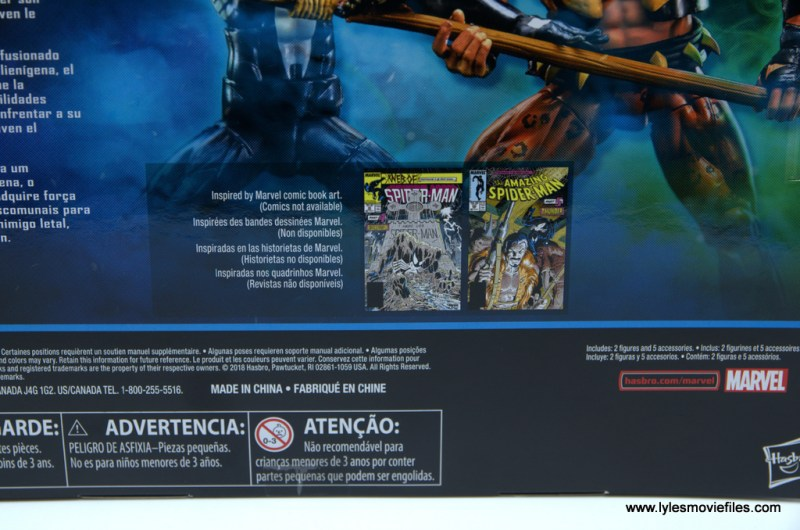 Marvel Legends Kraven and Spider-Man two-pack figure review - package with comic art
