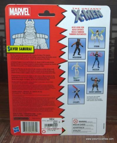 Marvel Legends Silver Samurai figure review - package rear